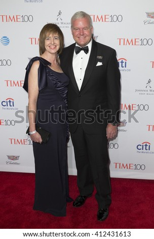 New York, NY USA - April 26, 2016: Lee Berger (R) attends Time 100 gala at Jazz at Lincoln Center - stock photo