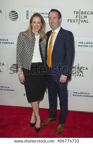 New York, NY USA - April 16, 2016: Lindsay Schmidt, Edward Shapoff attend premiere of Youth of Oregon movie during Tribeca Film Festival at BMCC - stock photo