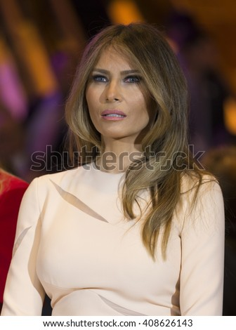 New York, NY USA - April 19, 2016: Melania Trump attends Donald Trump victory celebration at Trump Tower on 5th Avenue - stock photo
