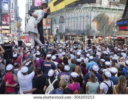 New York, NY USA - August 14, 2015:  Atmosphere during recreation of Alfred Eisenstaedt photograph in Times Square celebrating 70 years of end WWII - stock photo