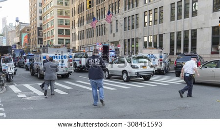 New York, NY USA - August 21, 2015: Crime scene under investigation where security guard has been killed in Federal building on Varick street - stock photo