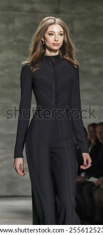 New York, NY, USA - February 16, 2015: A model walks runway for Pamella Roland Fall 2015 Runway show during Mercedes-Benz Fashion Week New York at the Pavilion at Lincoln Center, Manhattan - stock photo
