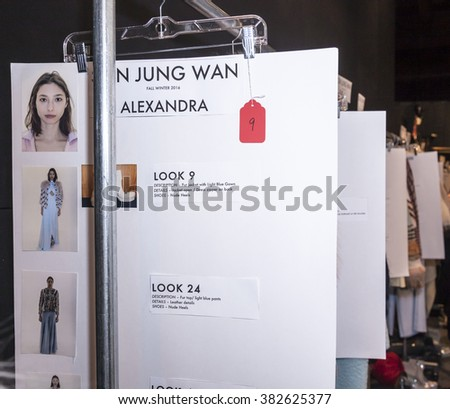 New York, NY, USA - February 13, 2016: Looks page on backstage at the Son Jung Wan runway show during of Fall/Winter 2016 New York Fashion Week at The Dock, Skylight at Moynihan Station, Manhattan. - stock photo