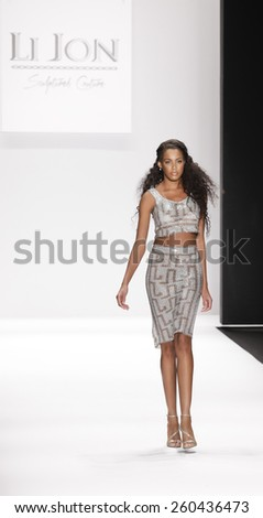 New York, NY, USA - February 19, 2015: Model walks the runway for House of Li Jon Fall 2015 collection at the Art Hearts Fashion Presented By AHF during MBFW at The Theatre at Lincoln Center - stock photo