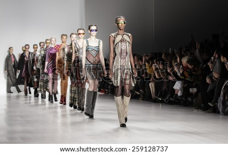 New York, NY, USA - February 15, 2015: Models walk runway for Custo Barcelona Fall 2015 Runway show during Mercedes-Benz Fashion Week New York at the Salon at Lincoln Center, Manhattan - stock photo