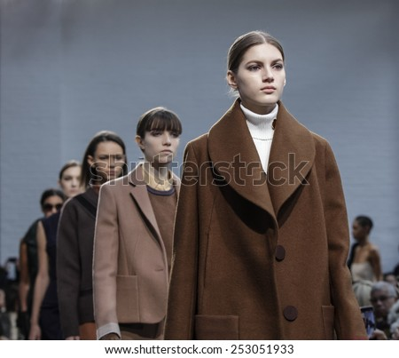 New York, NY, USA - February 15, 2015: Models walk runway for Derek Lam FW15 Runway show during Mercedes-Benz Fashion Week New York at the 545 West 22nd Street, Manhattan - stock photo
