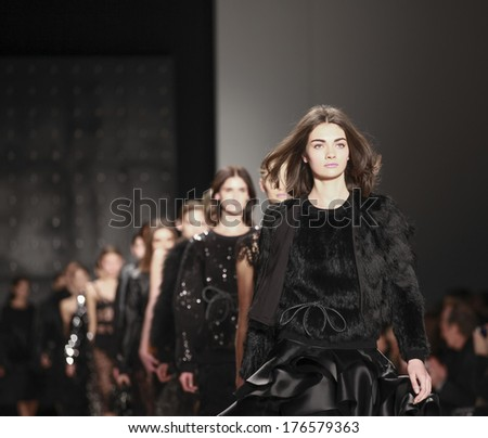 New York, NY, USA - February 10, 2014: Models walk runway for Milly by Michelle Smith Fall/ Winter 2014 Runway show during Mercedes-Benz Fashion Week New York at the Salon at Lincoln Center, Manhattan - stock photo