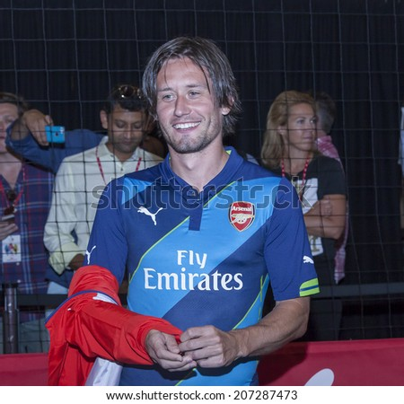 New York, NY, USA - July 25, 2014: Arsenal football player Tomas Rosicky attends the PUMA partners with Arsenal Football Club to Debut Monumental Cannon event in Grand Central Station in NYC. - stock photo
