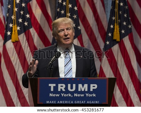 New York, NY USA - July 16, 2016: Donald Trump speaks during introduction Governor Mike Pence as running for vice president at Hilton hotel Midtown Manhattan - stock photo