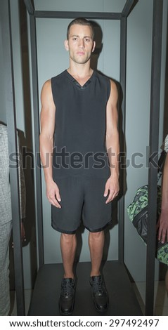 New York, NY USA - July 14, 2015: Model Kevin Sampaio poses at Anzevino Getty presentation during Menâ??s fashion week S/S 2016 at Skylight Clarkson Square - stock photo