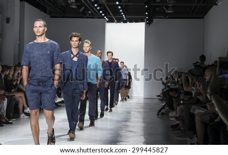 New York, NY, USA - July 14, 2015: Models walk runway at the Todd Snyder Runway show during New York Fashion Week: Men's S/S 2016 at Skylight Clarkson Sq, Manhattan - stock photo