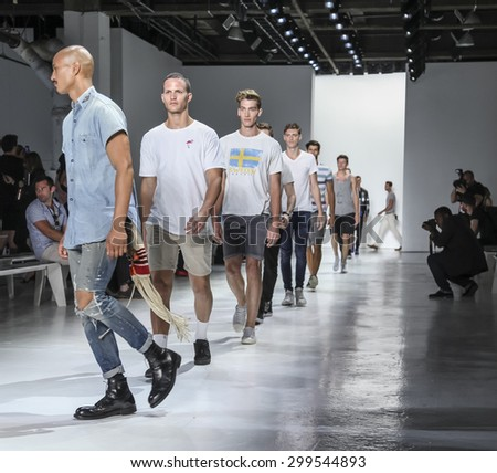 New York, NY, USA - July 14, 2015: Models walk runway during rehearsal at the Todd Snyder Runway show during New York Fashion Week: Men's S/S 2016 at Skylight Clarkson Sq, Manhattan - stock photo