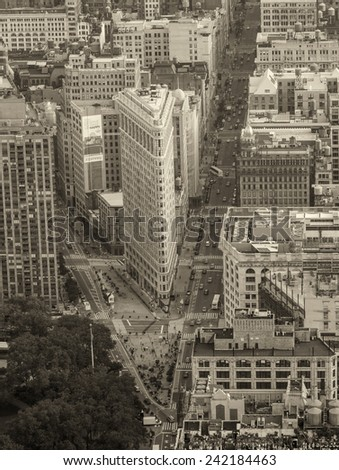NEW YORK, NY, USA - JUNE 9: Aerial view of Flat Iron building, built in 1902 is of the first skyscrapers ever built, taken on June 9, 2013 in New York City, United States - stock photo