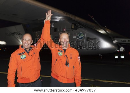 New York, NY USA - June 11, 2016: Bertrand Piccard and Andre Borschberg attend solar impulse plane landing at JFK airport in New York - stock photo
