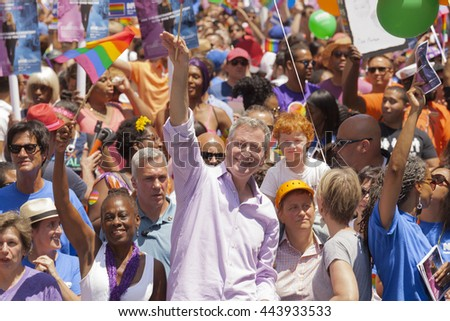 New York, NY USA - June 26, 2016: Chirlane McCray, Bill de Blasio, Cynthia Nixon march at 46th annual Pride parade to celebrate gay, lesbian and transgender community in New York city - stock photo