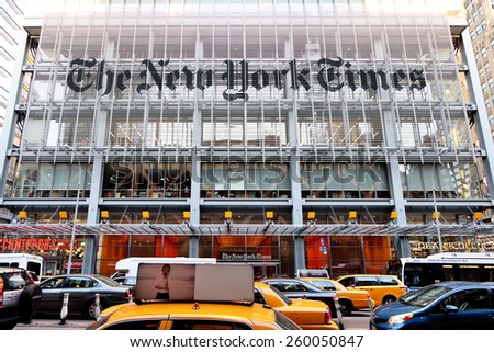 New York, NY, USA - June 7, 2014: Headquarters of The New York Times - stock photo