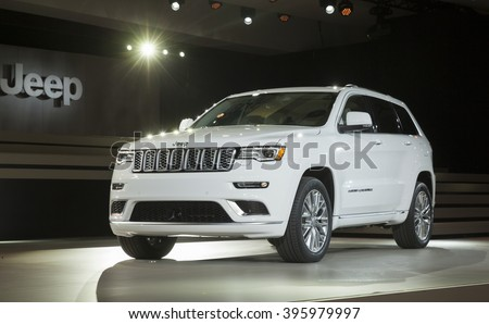 New York, NY USA - March 23, 2016: Jeep Grand Cherokee Summit car on display at New York International Auto Show at Jacob Javits Center - stock photo