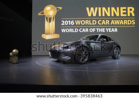 New York, NY USA - March 24, 2016: Mazda MX-5 sport 2017 car Best 2016 world car on display at New York International Auto Show at Jacob Javits Center - stock photo