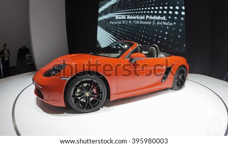 New York, NY USA - March 23, 2016: Porsche 718 Boxster S sport 2017  car on display at New York International Auto Show at Jacob Javits Center - stock photo
