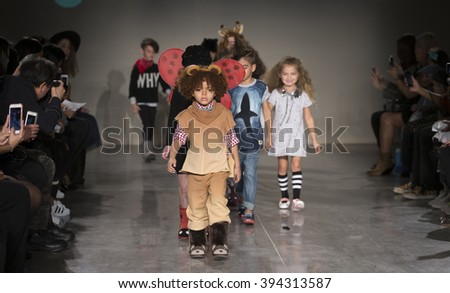 New York, NY USA - March 12, 2016: Young models walk runway for EMU Australia during petiteParade fashion show at Spring studios - stock photo