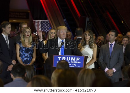 New York, NY USA - May 3, 2016: Donald Trump delivers victory speech after winning Indiana primary of Republican party for presidential nominee at Trump Tower - stock photo