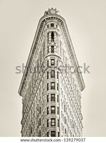 NEW YORK, NY, USA - MAY 6: Flat Iron building, built in 1902 is of the first skyscrapers ever built, taken on May 6, 2012 in New York City, United States. - stock photo