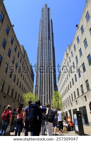 New York, NY, USA  - May 27, 2013: New York City landmark, tourists visit Rockefeller Center - stock photo