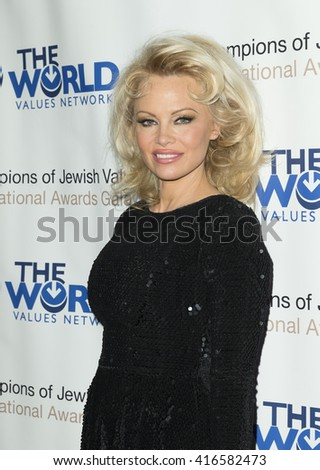 New York, NY USA - May 5, 2016: Pamela Anderson attends 4th annual champions of Jewish values international awards gala at Marriott Marquis Times Square - stock photo