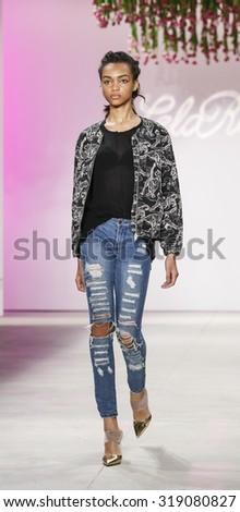 New York, NY, USA - September 14, 2015: A model walks runway rehearsal at Lela Rose runway show during Spring 2016 New York Fashion Week at The Gallery, Skylight Clarkson Sq., #NYFW, #lelarose - stock photo
