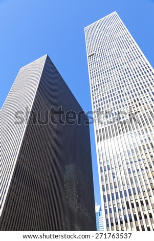 New York, NY, USA - September 17, 2014: 1221 Avenue of the Americas: 1221 Avenue of the Americas is a skyscraper built in 1969, located at 1221 Sixth Avenue, in Manhattan.  - stock photo