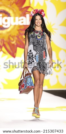 New York, NY, USA - September 04, 2014: Model Adriana Lima walks runway for Desigual Spring 2015 Runway show during Mercedes-Benz Fashion Week New York at the Theatre at Lincoln Center, Manhattan - stock photo