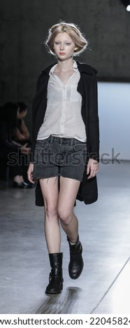 New York, NY, USA - September 05, 2014: Model walks runway during rehearsal for Sally LaPointe Spring 2015 Collection  Runway show during Mercedes-Benz Fashion Week New York at Skylight Modern, NYC - stock photo