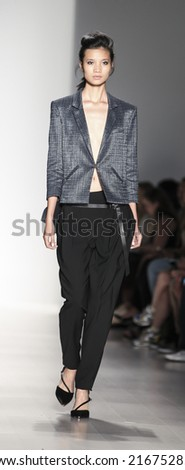 New York, NY, USA - September 04, 2014: Model walks runway for Marissa Webb Spring 2015 Runway show during Mercedes-Benz Fashion Week New York at the Salon at Lincoln Center, Manhattan - stock photo