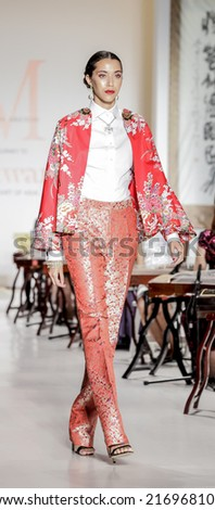 New York, NY, USA - September 06, 2014: Model walks runway for Marlan Breton Spring/Summer 2015 Runway show during Mercedes-Benz Fashion Week New York at the Salon at Lincoln Center, Manhattan - stock photo