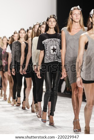 New York, NY, USA - September 05, 2014: Models walk rehearsal for Monique Lhuillier Spring 2015 Runway show during Mercedes-Benz Fashion Week New York at the Theatre at Lincoln Center, Manhattan - stock photo