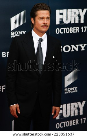 "NEW YORK-OCT 15: Actor Brad Pitt attends the world premiere of ""The Fury"" at the Newseum on October 15, 2014 in Washington DC. - stock photo"