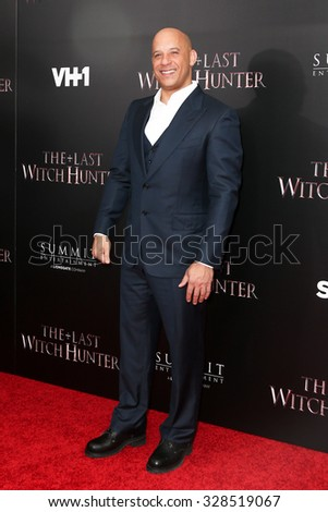NEW YORK-OCT 13: Actor Vin Diesel attends 'The Last Witch Hunter' New York premiere at AMC Loews Lincoln Square on October 13, 2015 in New York City. - stock photo