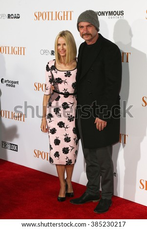 NEW YORK-OCT 27: Actors Naomi Watts (L) and Liev Schreiber attend the 'Spotlight' New York premiere at Ziegfeld Theatre on October 27, 2015 in New York City. - stock photo