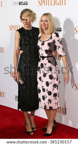 NEW YORK-OCT 27: Actress Naomi Watts (R) and Sunrise Coigney attend the 'Spotlight' New York premiere at Ziegfeld Theatre on October 27, 2015 in New York City. - stock photo