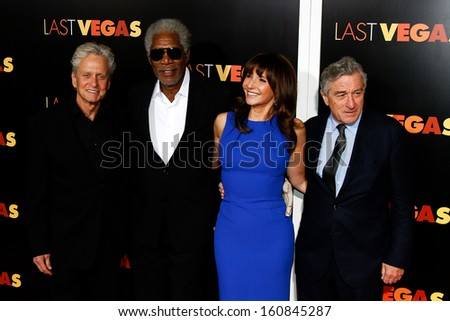 "NEW YORK- OCT 29:  Michael Douglas (L) and cast attend the premiere of ""Last Vegas"" at the Ziegfeld Theatre on October 29, 2013 in New York City. - stock photo"