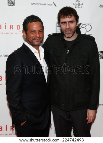 NEW YORK-OCT 11: Writers Alexander Dinelaris (L) & Nicolas Giacobone attend 'Birdman Or The Unexpected Virtue Of Ignorance' premiere at the New York Film Festival on October 11, 2014 in New York City. - stock photo