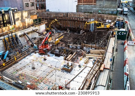 NEW YORK-OCTOBER 20: A work site of a building foundation along the High Line Park on October 20, 2014 in New York City. - stock photo