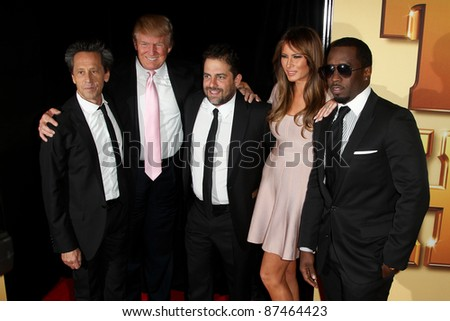 """NEW YORK - OCTOBER 24: Brian Grazer, Donald Trump, Brett Ratner, Melania Trump and Sean Combs (Diddy) attend the premiere of """"Tower Heist"""" at the Ziegfeld Theatre on October 24, 2011 in New York City. - stock photo"""