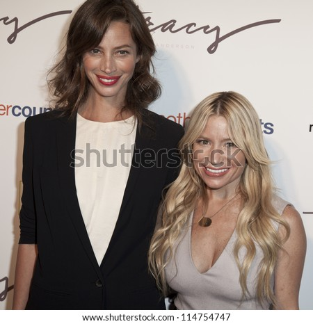 NEW YORK - OCTOBER 05: Christy Turlington Burns and Tracy Anderson attend The Tracy Anderson Method Pregnancy Project at Le Bain At The Standard Hotel on October 05, 2012 in New York City. - stock photo
