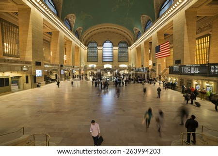 NEW YORK, OCTOBER 10: commuters and tourists in the grand central station in October 10, 2014 in New York. It is the largest train station in the world by number of platforms: 44, with 67 tracks - stock photo