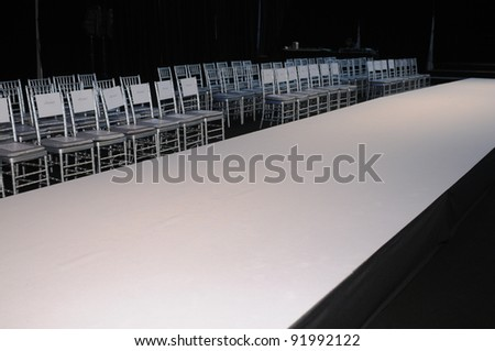 NEW YORK - OCTOBER 17: Empty runway before the Winnie Couture Bridal Collection for Spring/ Summer 2012 during NY Bridal Fashion Week on October 17, 2011 in New York, USA - stock photo