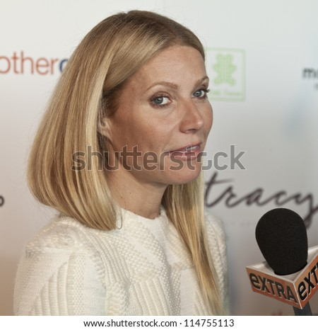 NEW YORK - OCTOBER 05: Gwyneth Paltrow gives interview at launch of The Tracy Anderson Method Pregnancy Project at Le Bain At The Standard Hotel on October 05, 2012 in New York City. - stock photo