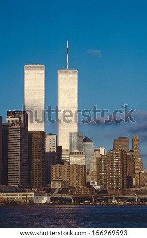 NEW YORK - October 1: Lower mahattan and  World Trade Center on October 1, 1996 in New York City, America.  the WTC was destroyed by 911 from terrorists. - stock photo