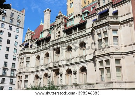 New York old architecture - Gertrude Rhinelander Waldo House, a French Renaissance revival mansion. Registered NYC Landmark. - stock photo