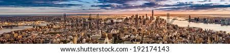 New York Panorama before sunset - stock photo